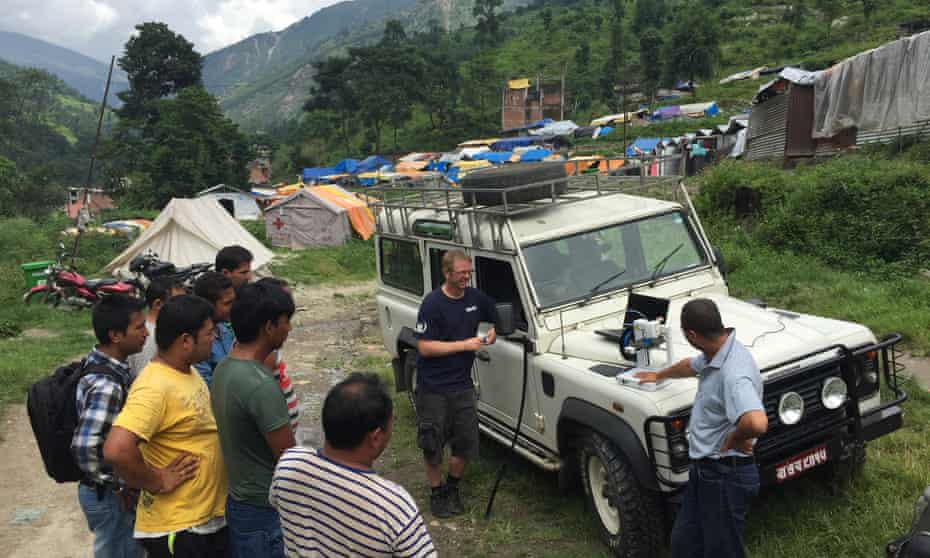 A 3D printer is used to create a fitting for a leaky water pipe in a camp for Nepalese people displaced by earthquakes. All photographs: Field Ready