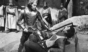 Terence Bayler as Macduff at the mercy of Macbeth, played by Jon Finch, in Roman Polanski's film Macbeth, 1971.