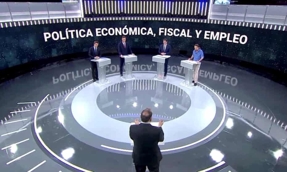 Leaders of the four main parties hold a televised debate on 22 April (L-R): Pablo Casado of the PP, Pedro Sánchez of PSOE, Albert Rivera of Citizens, and Pablo Iglesias of Unidas Podemos.