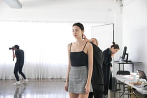Model Jesse Nishijima attending a fitting for Albus Lumen the week before her show