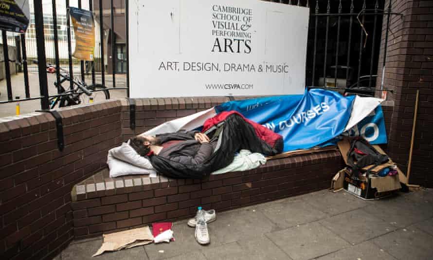 A homeless man sleeping rough in Cambridge.