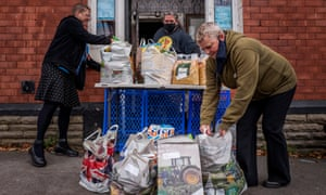 Donations at the 'We Shall Overcome' Food Bank In the Station Pub in Ashton under Lyne.