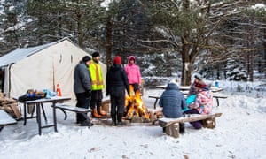 Visitors at Mew Lake campsite at Algonquin national park.