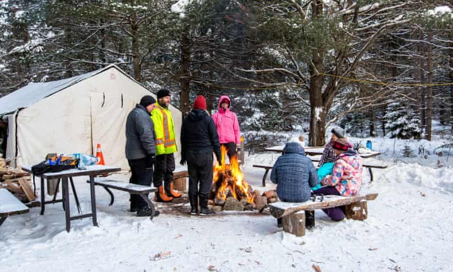 Visitors at Mew Lake campsite at Algonquin national park.