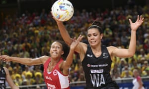 Serena Guthrie vies for the ball with New Zealand's Grace Rasmussen during the Netball World Cup semi-final.