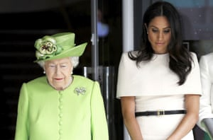 The Queen and Meghan, Duchess of Sussex observe a moment of silence during a visit to Chester