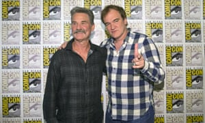 Quentin Tarantino poses with Hateful Eight cast member Kurt Russell