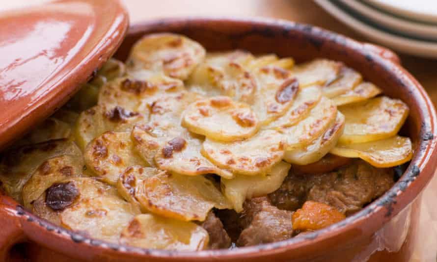 Lancashire Hot Pot, a long slow casserole of lamb, onions and finely sliced potato.