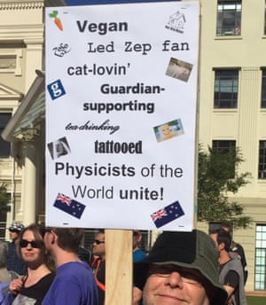 Ian Andrews at the march for science in Wellington, New Zealand. We approve of his sign!