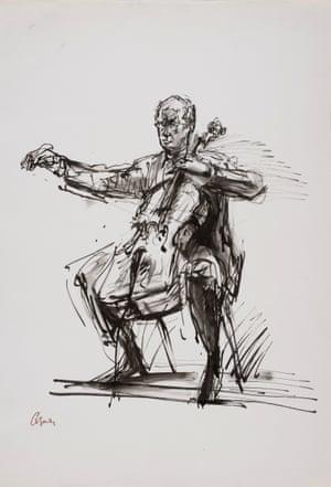 Mstislav Rostropovich, 1966, by Milein Cosman