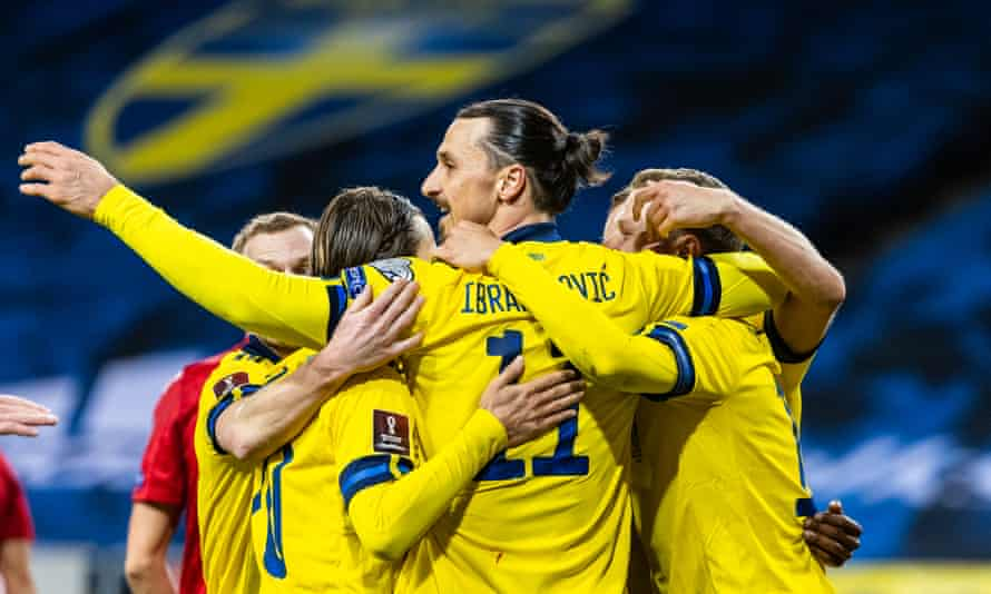 Zlatan Ibrahimovic celebrates Viktor Claesson's goal with his teammates after returning to the side after almost five years to become Sweden's oldest ever player.
