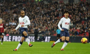 Lucas Moura sweeps the ball home to score Spurs' third.