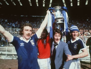 Kevin Beattie celebrates Ipswich's victory over Arsenal in the FA Cup final, 1978.