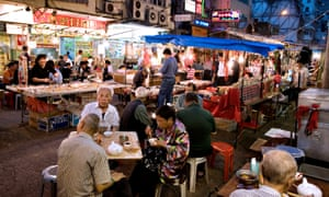 Street stalls at the Temple Street  night market in Hong Kong