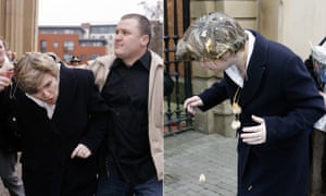 In 2006, education secretary Ruth Kelly is hit with an egg outside Salford magistrates court, where Fathers4Justice protester Simon Wilmot-Coverdale was on trial over an incident in which eggs were allegedly thrown at the minister while she addressed an audience in Bolton the year before.