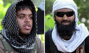 Images taken from a militant video of Reyaad Khan (left) and Ruhul Amin.