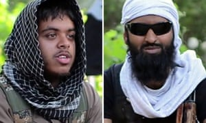 Screengrabs taken from a militant video posted on YouTube of British citizens Reyaad Khan, left, and Ruhul Amin, who were killed in an RAF drone attack in Syria, where they were fighting for Islamic State.