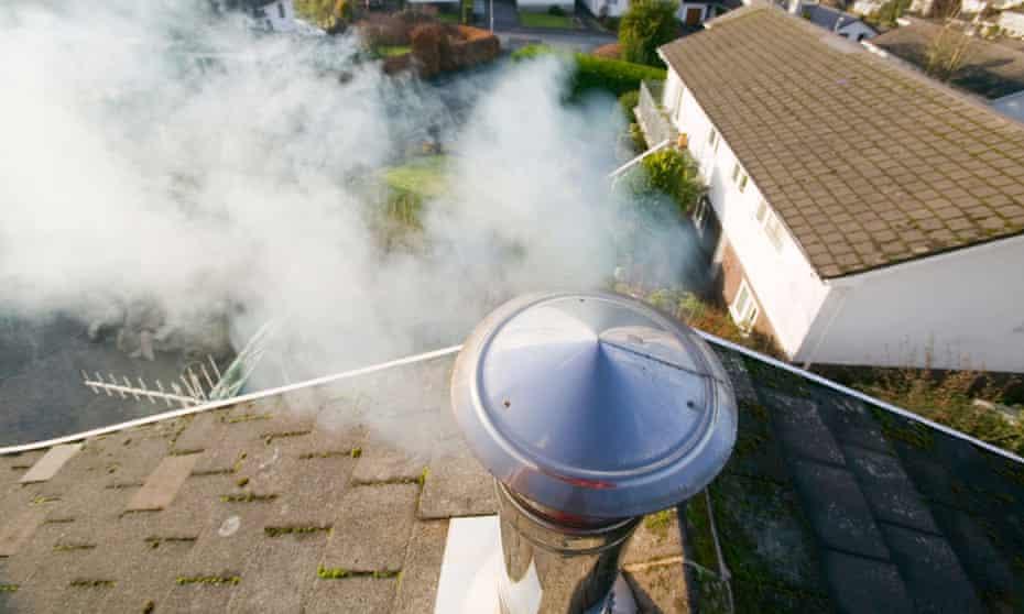 A chimney emitting smoke