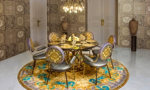 Versace-designed dining room in a new Nine Elms tower.