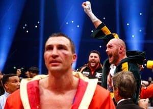 Fury celebrates after being declared the winner buy unanimous decision 115-112, 115-112, 116-111