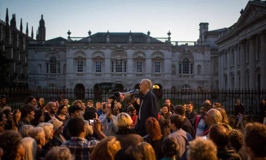 Jeremy Corbyn addresses a rally In Cambridge during Labour's leadership campaign.
