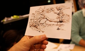 Mono printing with Jane German and David Page at Guardian cartoon and art family day, 10 October 2015.