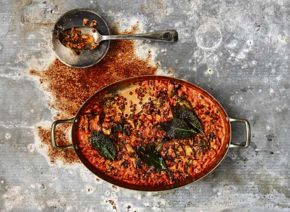 Chard, lentil and bay gratin: If you don't have an ovenproof frying pan, you can simply transfer the gratin to a dish before popping it in the oven.