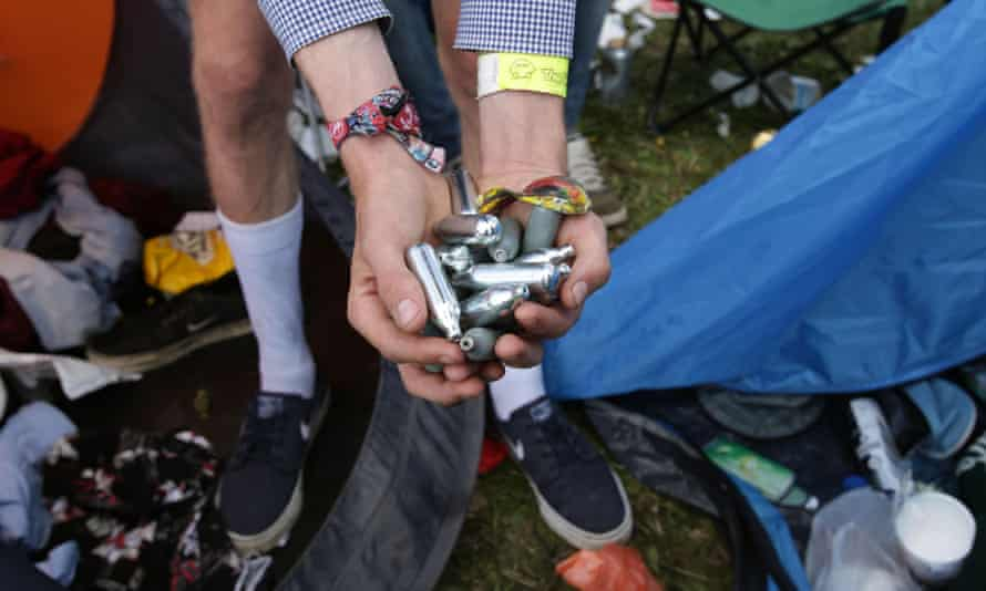 Discarded canisters of laughing gas found at a festival.