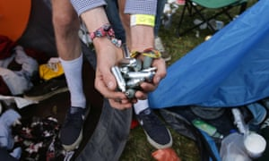Discarded nitrous oxide canisters at a music festival