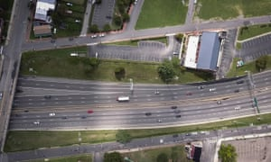 A shot of the I-95 in Jackson Ward, showing the road bending around the Sixth Mount Zion Baptist Church.