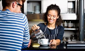 Young person working in coffee shop