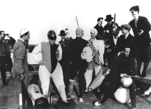 Oskar Schlemmer with students at the Bauhaus school, 1928Schlemmer considered the performing arts a fertile but underdeveloped medium for expression, and looked to break out of its rules