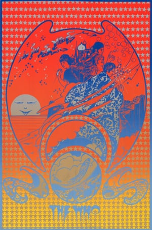"""Hapshash & the Coloured Coat, The Who, I Can See For Miles, 1967'This poster was a promotion for The Who's latest single from the album The Who Sell Out. Michael English said: """"All the underground posters are packed with secret signs, prehistoric forms and flying saucers. We believed and adopted anything that contradicted the rational world: our science was rooted in alchemy and black magic."""" Roger Daltrey blows bubbles, Pete Townshend holds a sparkler, and Keith Moon prepares to launch what looks ominously like a grenade'"""