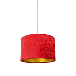 Red crushed velvet drum lampshade from quirk uk