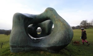 Wilf the writer's dog checks out a Henry moore sculpture at Yorkshire Sculpture Park