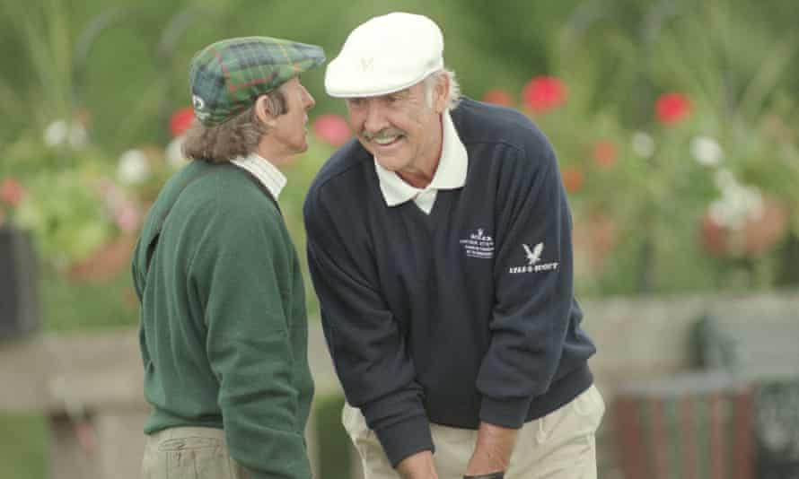 Sean Connery playing golf at Gleneagles with Jackie Stewart, 2016.