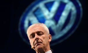 Volkswagen chief executive Matthias Mueller appears at a press event in Detroit.