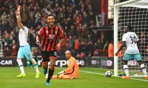 Bournemouth's Josh King celebrates his second goal against West Ham.