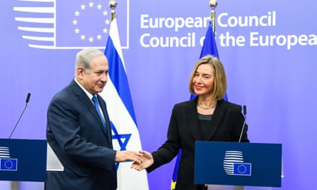 Benjamin Netanyahu and Federica Mogherini meet in Brussels. It is the first visit to the EU by a sitting Israeli PM in 22 years.
