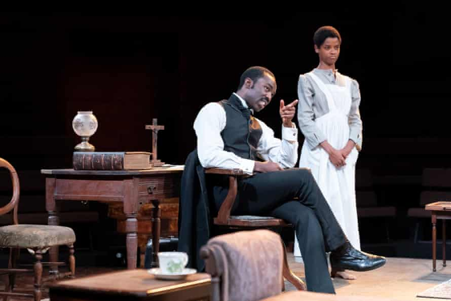 Paapa Essiedu and Letitia Wright in The Convert
