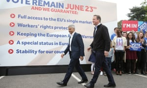 Sadiq Khan and David Cameron campaign for the remain campaign