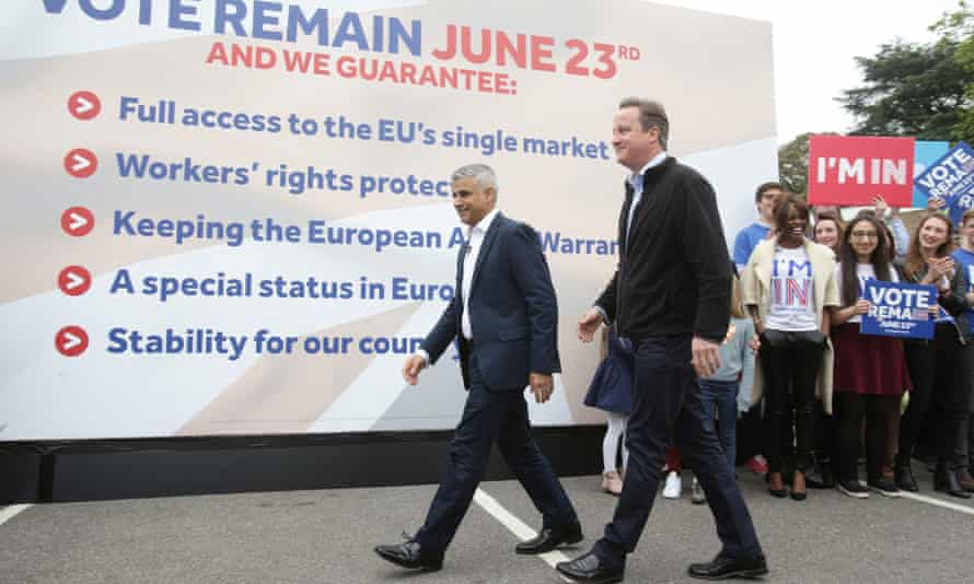 Sadiq Khan and David Cameron campaign for the remain campaign