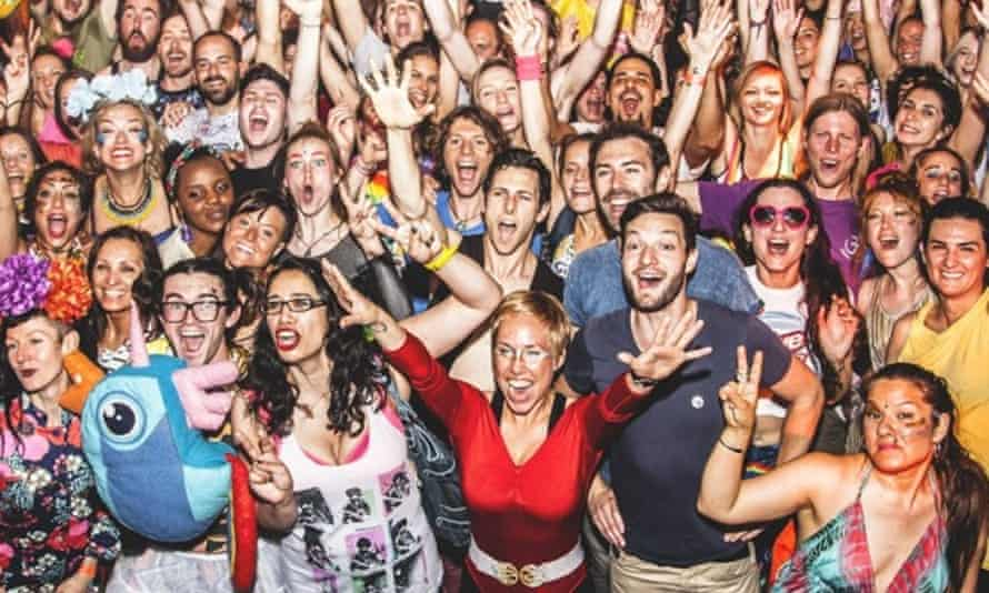 Publicity image of a large crowd of partygoers at a Morning Gloryville event
