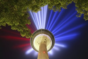 Düsseldorf, Germany A light installation on the Rhine Tower in the French national colours promotes the start of the Tour de France in the city