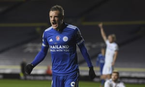 Leicester City's Jamie Vardy celebrates scoring the third goal.