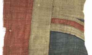 Part of the flag believed to have flown from  Nelson's ship Victory at the battle of Trafalgar, which is expected to sell for up to £100,000.