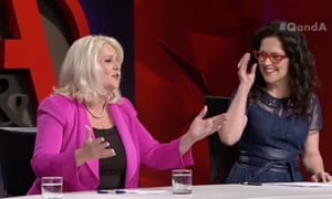 Coalition minister Karen Andrews and Q&A host Annabel Crabb discussing the MeToo movement and other matters.