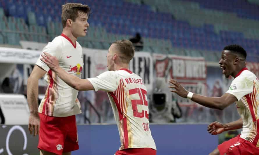 Alexander Sørloth (left) celebrates scoring the late winner at the weekend.
