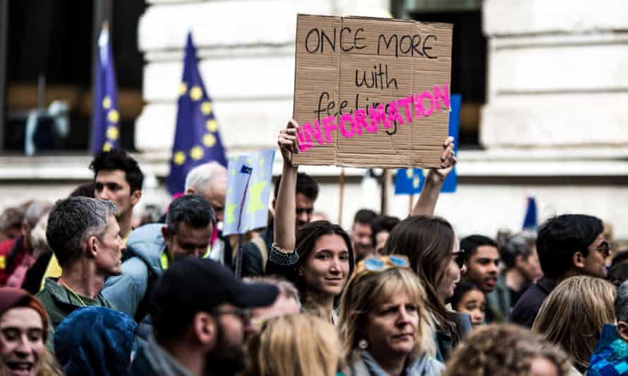 Protesters taking part in the Put It To The People march for a second referendum in London on Saturday.