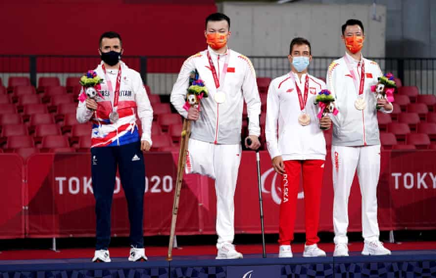 The table tennis class seven medal winners – left to right Will Bayley, Yan Shuo, Poland's Maksym Chudzicki and China's Keli Liao.
